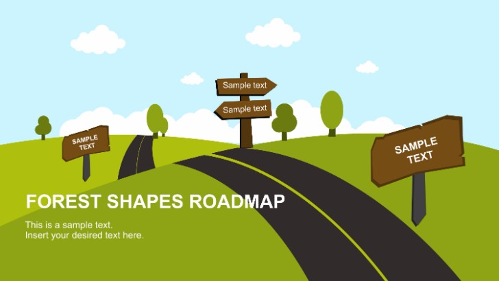 free forest shapes roadmap powerpoint template