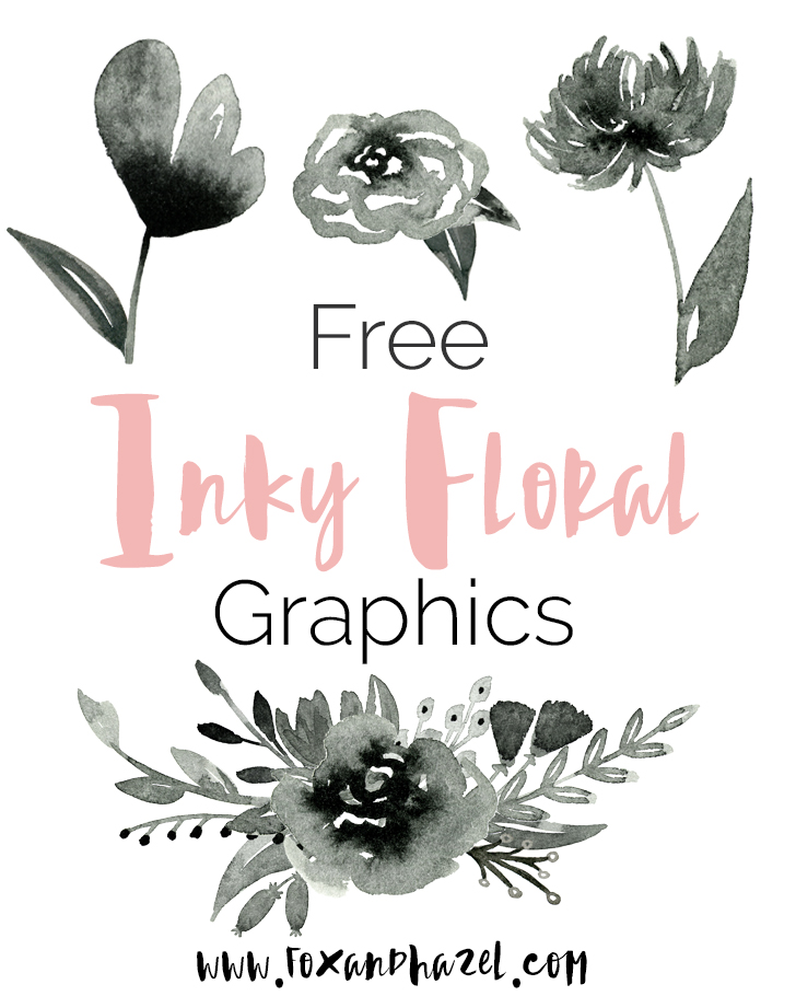 FREE INKY WATERCOLOR FLOWER GRAPHICS