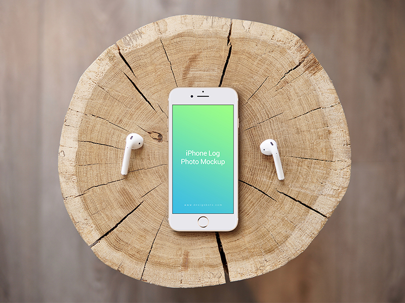 Free iPhone 7 Gold Log Photo Mockup PSD