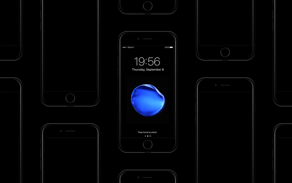 Free iPhone 7 Jet Black Sketch Mockup