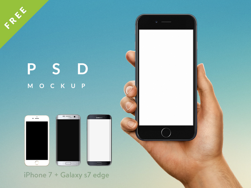 FREE iPhone 7 Male Female Hand PSD Sketch mockup