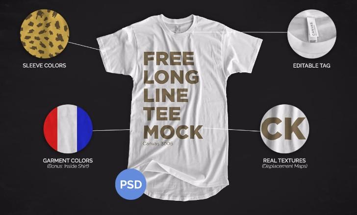 Free Longline TShirt Mockup 2016
