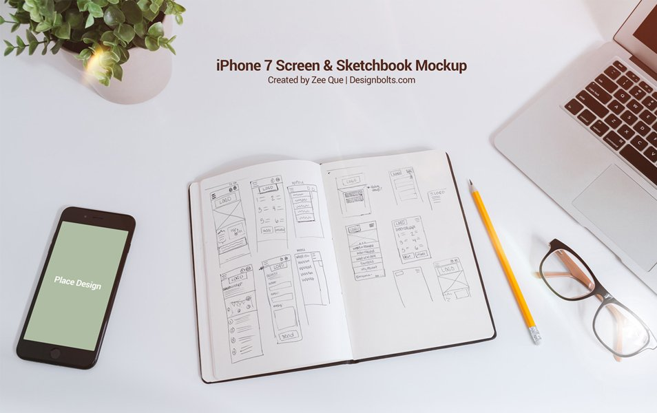 Free Sketchbook iPhone 7 Mockup PSD for UI Designers