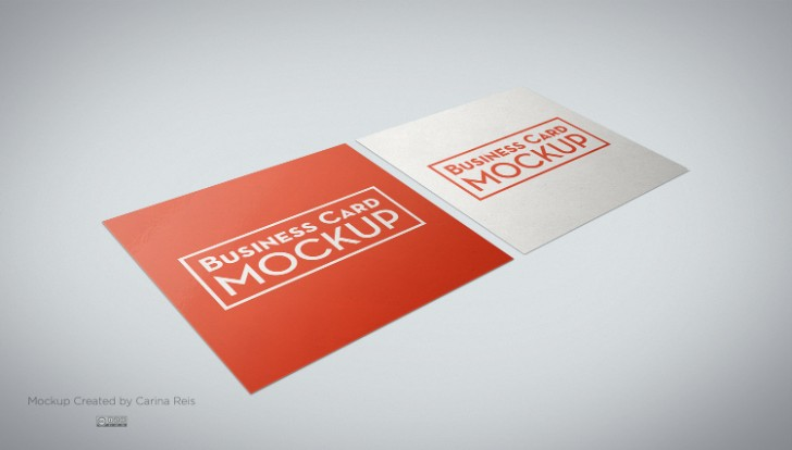 free square business card mockup design