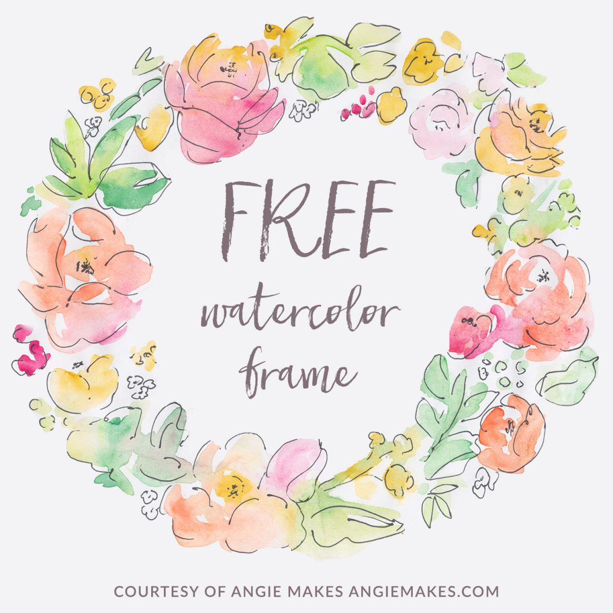 Free Watercolor Flower Wreath
