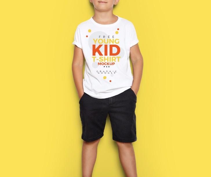 Free Young Kid TShirt MockUp PSD