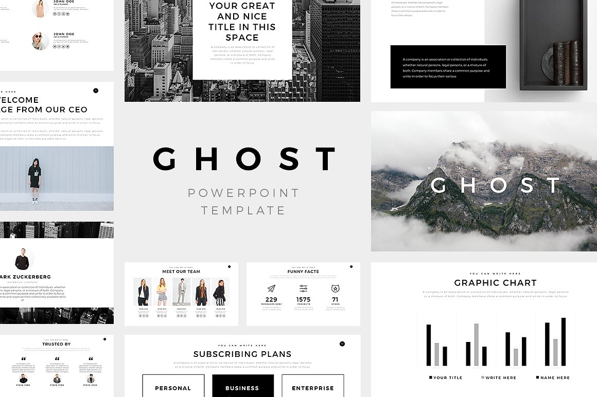 30 aesthetic powerpoint templates for clean presentations 2017 ghost minimal powerpoint template toneelgroepblik Gallery