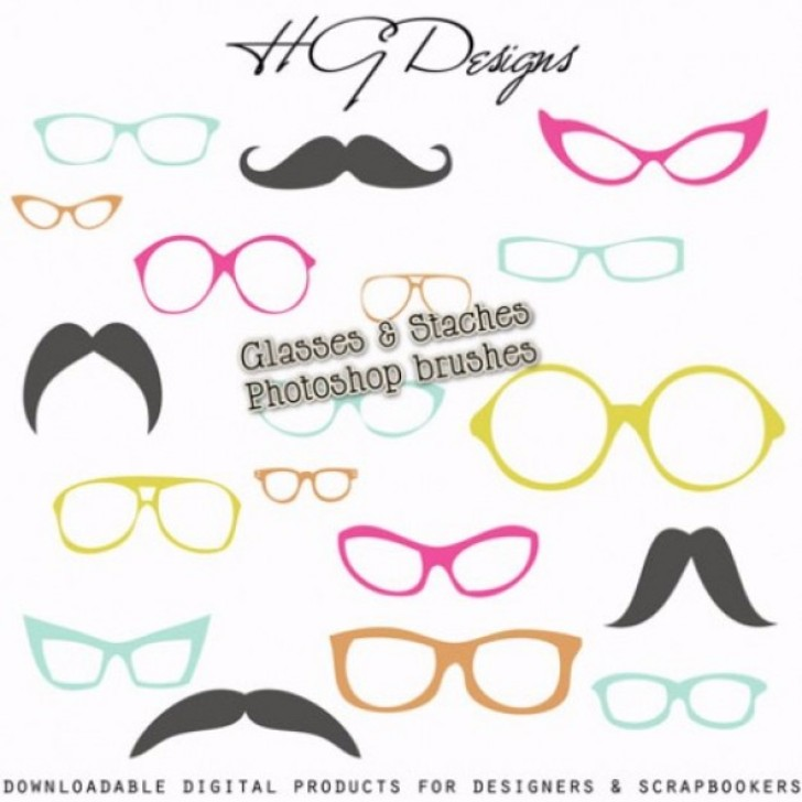 Glasses and staches brushes