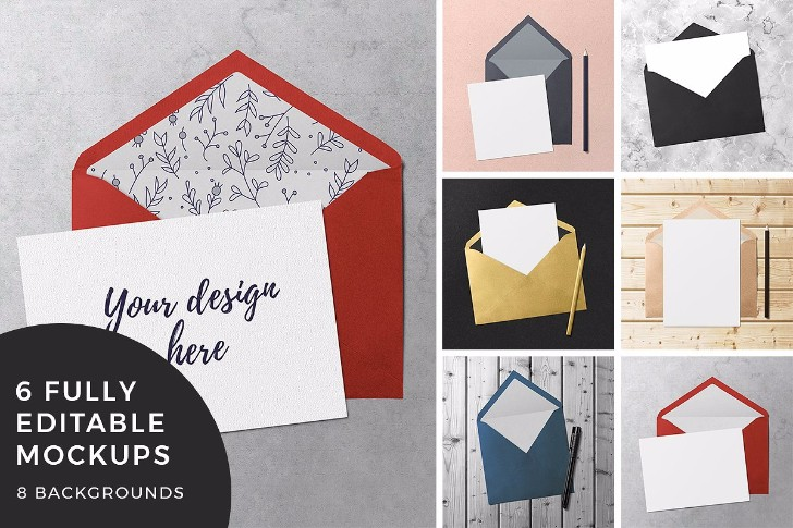 Greeting Card Envelope Mockups
