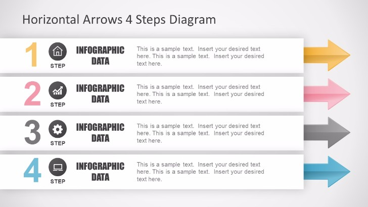 Horizontal Arrows 4 Steps Diagram