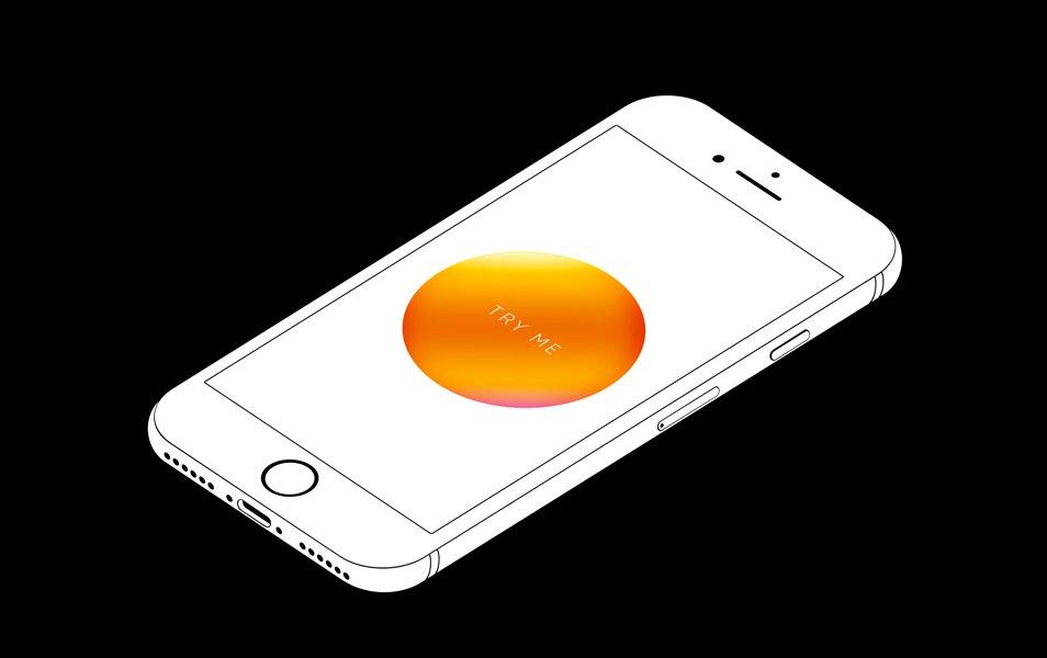 iPhone 7 minimal isometric mockup free psd