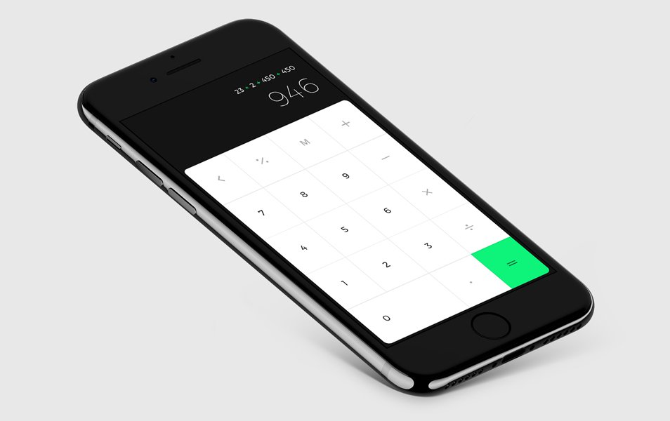 iPhone 7 Mockup with iOs Calc