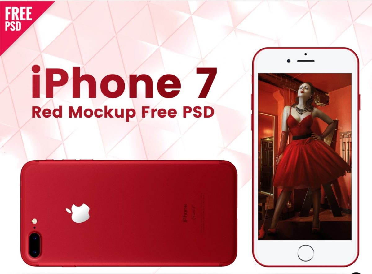 iPhone 7 Red Mockup Free PSD