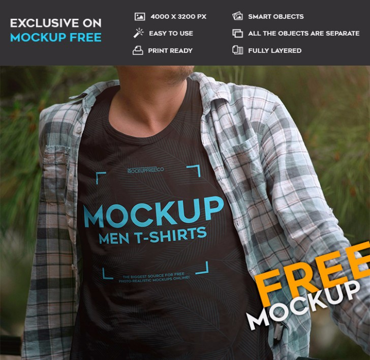 Men Tshirts Free PSD Mockup