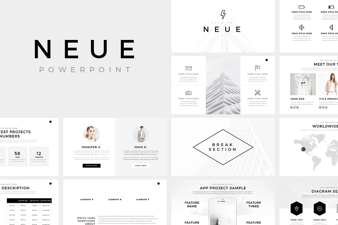 Neue Clean Minimal Presentation Template for PPT