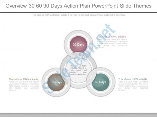 Overview 30 60 90 Days Action Plan Powerpoint Slide
