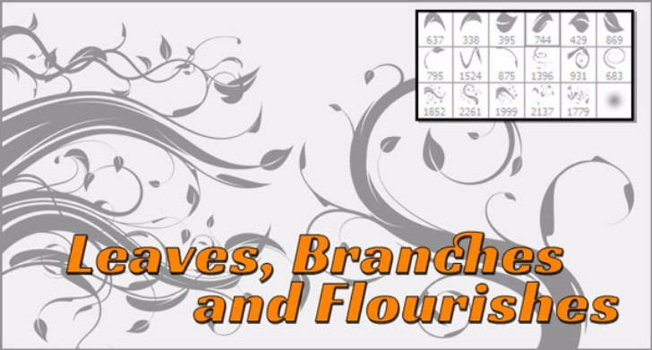 Photoshop Flourish Leaves and Vines Free Brushes