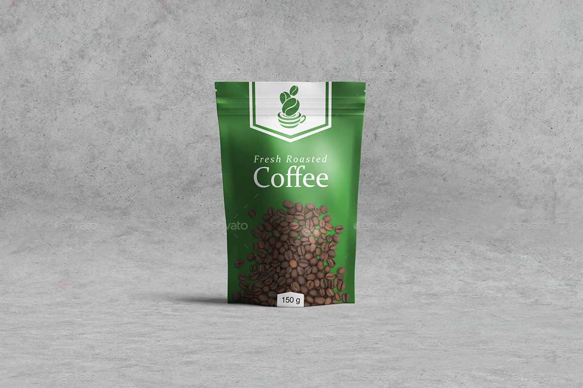 Plastic Pouch Bag to Coffee Doypack Mockup