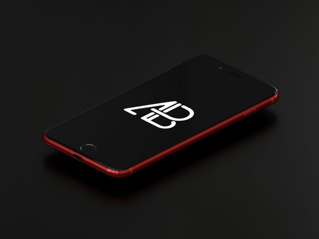 Product Red iPhone 7 Plus Mockup Vol3