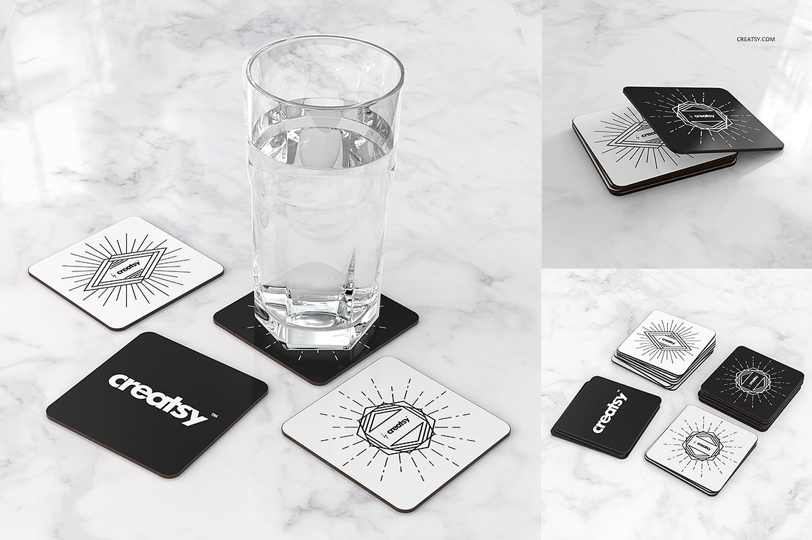 Rectangular Coasters Mockup Set