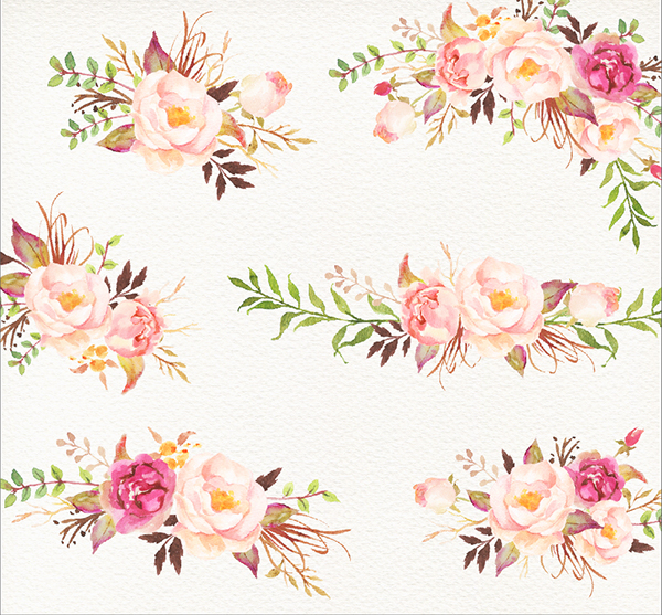 Romantic Blooms Watercolour Clip Art Rose