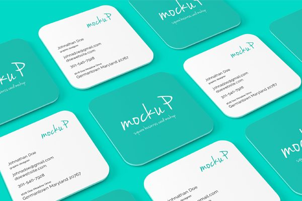 square business card mockups