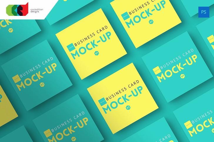 Square Business Card MockUp V1
