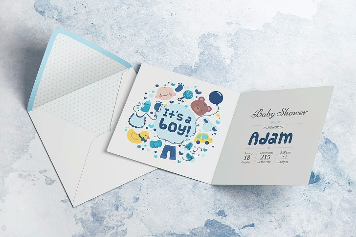 Square Invitation Greeting Mockup