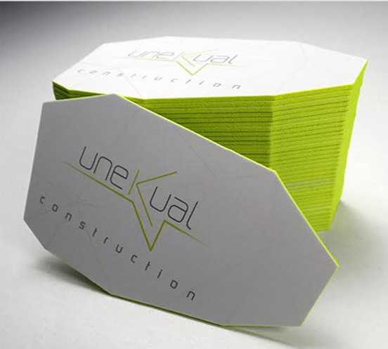 Unusual Faceted Die Cut Business Card