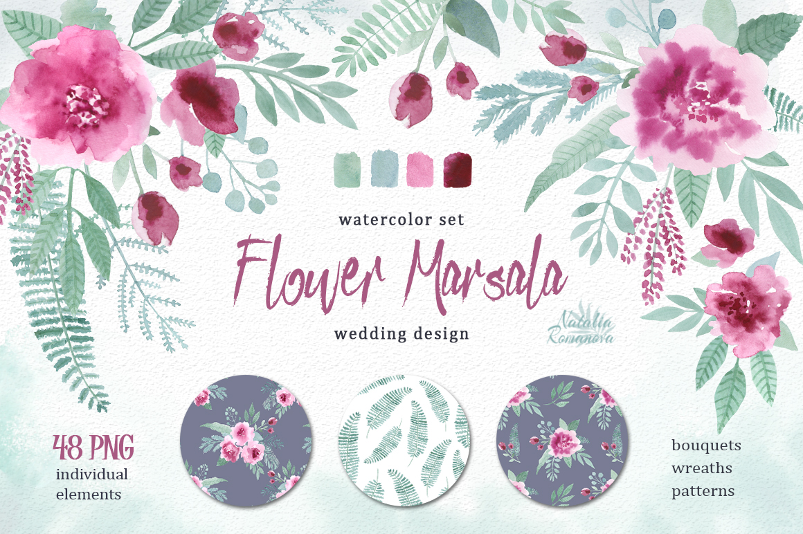 Watercolor floral marsala
