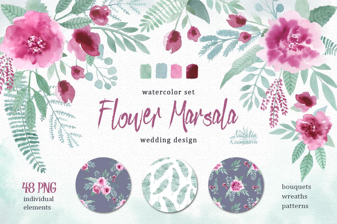 Watercolor floral marsala