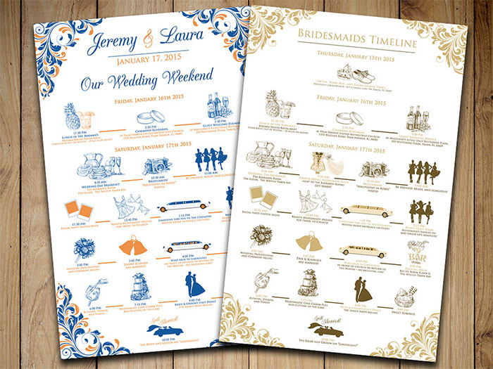 Wedding Timeline Wedding Itinerary Order