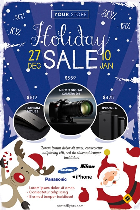 Winter Holiday Sale Free Flyer Template