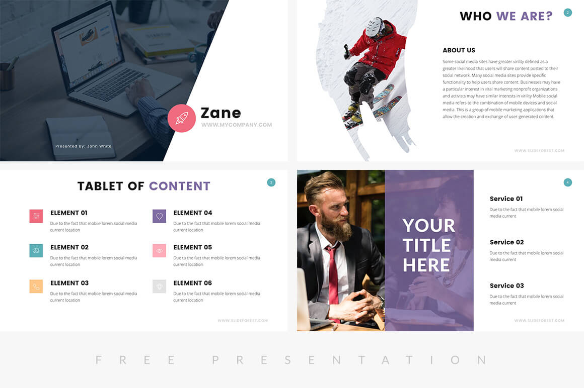 zane corporate business profile free powerpoint template