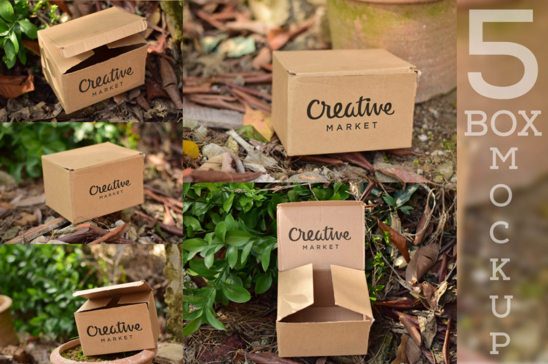5 Cardboard Mockup PSD Free Download