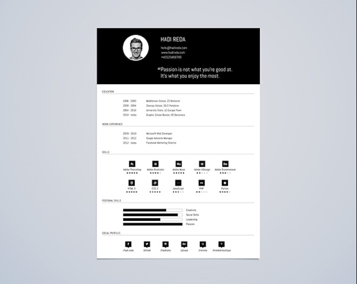 Marvelous CV Resume Template Din A4 Free PSD