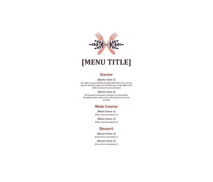 Informal-event-menu