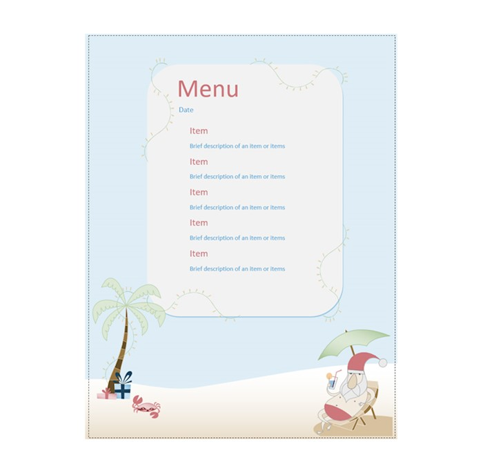 Party-menu-Summer-Santa-design