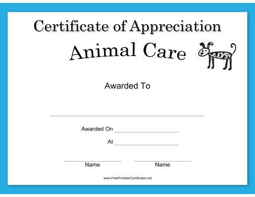 Animal Care Appreciation Dog Certificate