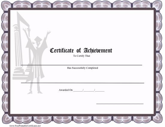 Certificate of Achievement Graduation