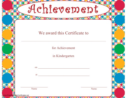 Certificate of Achievement in Kindergarten