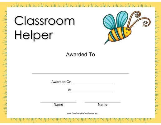 Classroom Helper Certificate