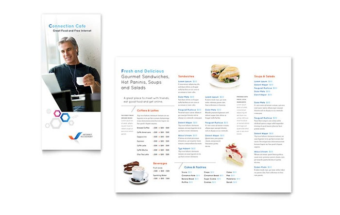 Connection Cafe  Microsoft Word Restaurant Menu Template