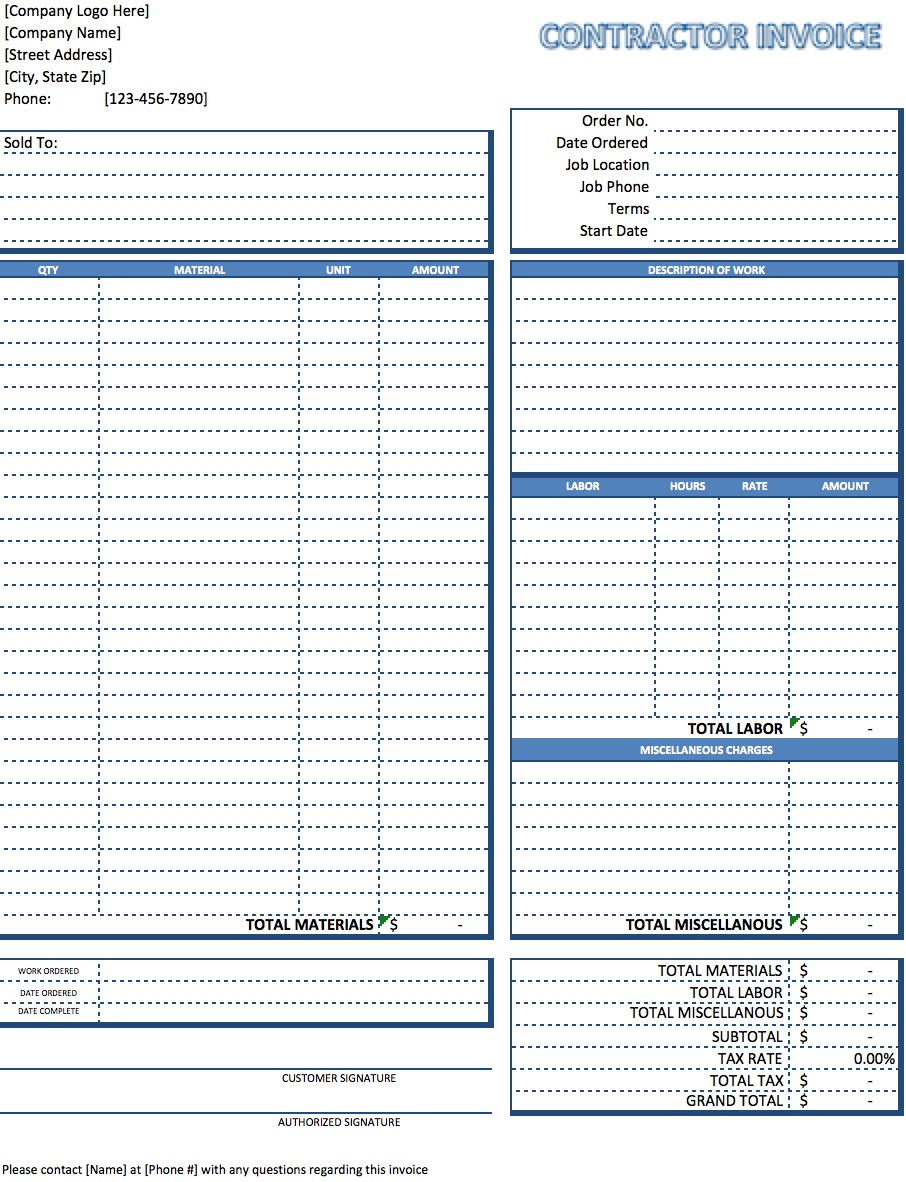 Contactor Invoice Excel