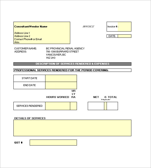 Contractor Invoice Template Downloadable Excel File