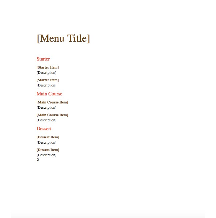 Menu Templates Microsoft Word | 25 Free Restaurant Menu Templates For Word Updated 2018