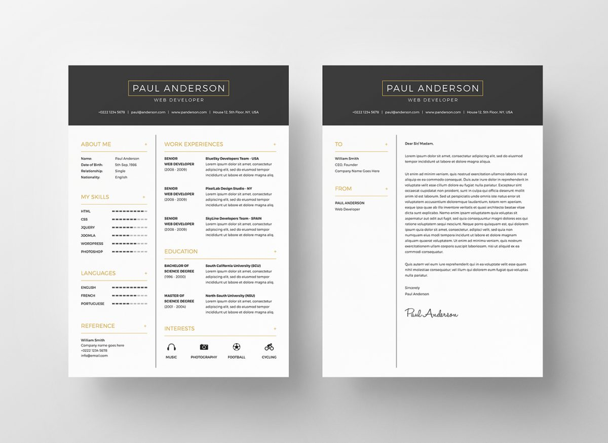 executive black and gold free resume template