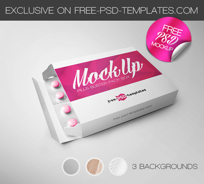 free pills blister pack box mockup in psd