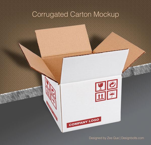 Free White Corrugated Carton Mockup PSD