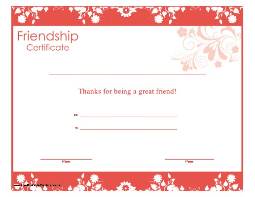 Friendship Certificate